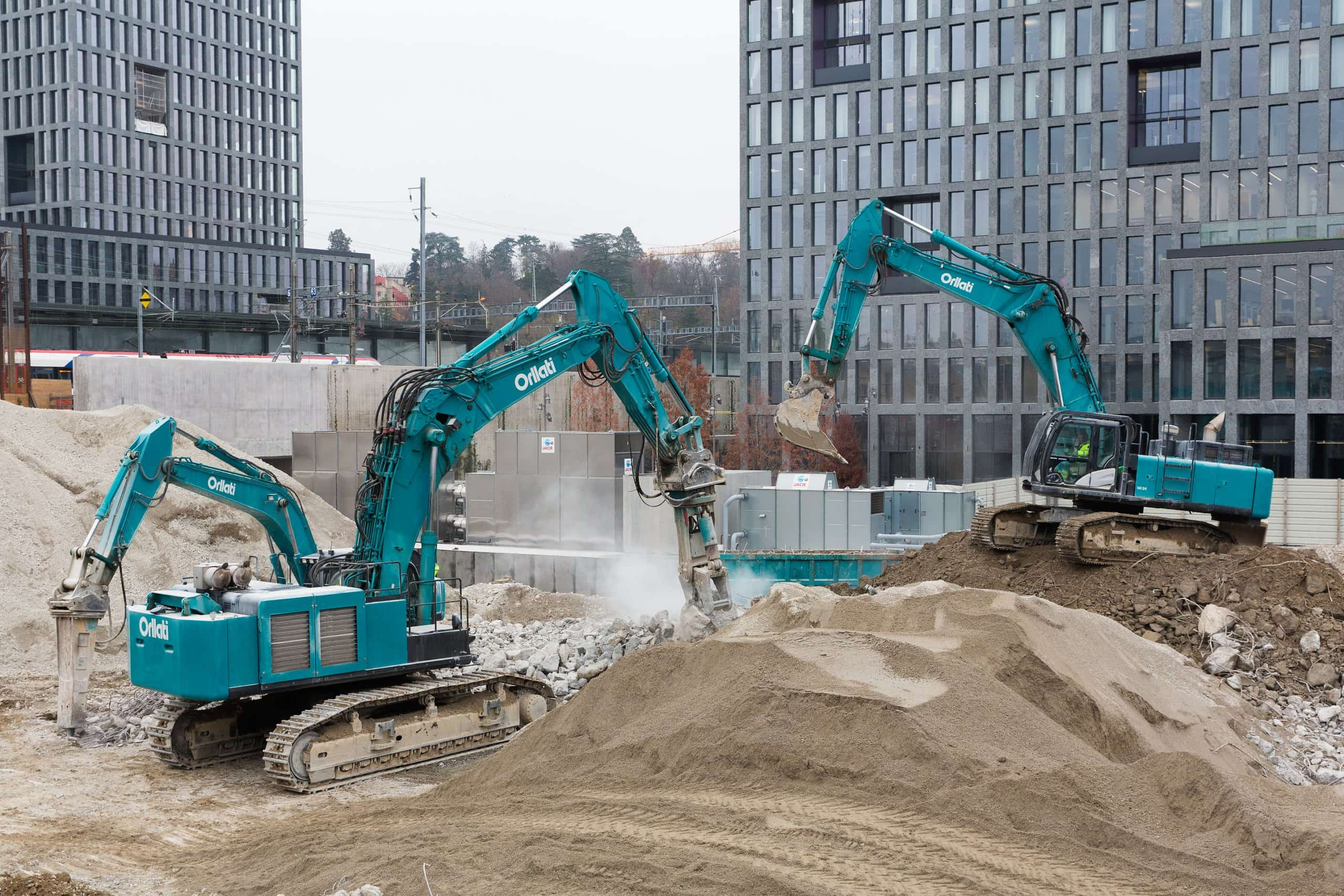 machines de chantier en action