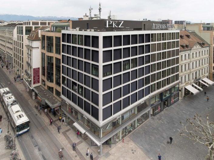 composition d'architecture montrant des façades latérales vu du ciel