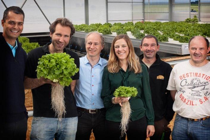 photo de groupe corporate représentant des cultivateurs de salades